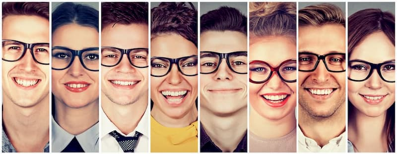 Collage of people wearing different style glasses